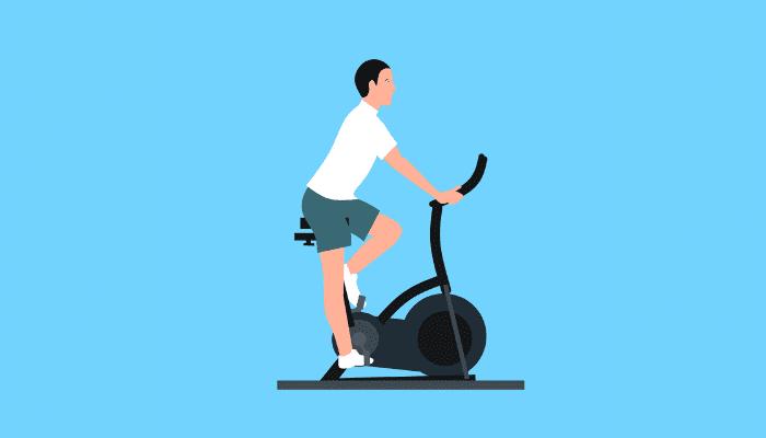 Illustratie, man op een hometrainer