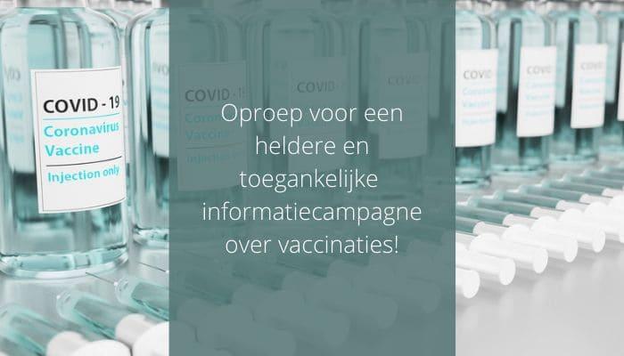 Oproep voor een heldere en toegankelijke informatiecampagne over vaccinaties
