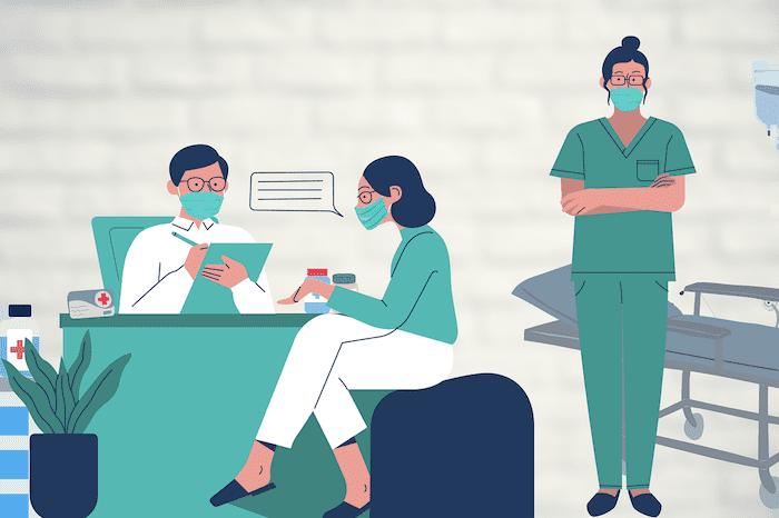 Illustratie van een arts in gesprek met een patiënt en wachtende verpleegkundige, alle drie met mondkapje op.
